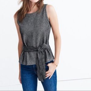 Madewell French Ribbed Tie Waist Top